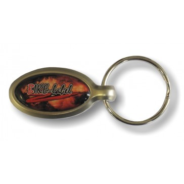 Schlüsselanhänger oval mit 3D Aufkleber veredelt