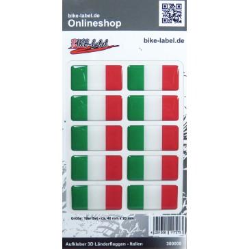 Aufkleber 3D Länder-Flaggen - Italien Italy 10 Stck. je 40 x 20 mm