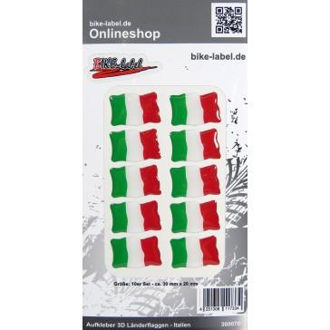Aufkleber 3D Länder-Flaggen - Italien Italy 10 Stck. je 30 x 20 mm