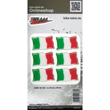 Aufkleber 3D Länder-Flaggen - Italien Italy mit Chromrand 6 Stck. je 40 x 26 mm
