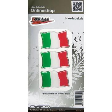 Aufkleber 3D Länder-Flaggen - Italien Italy mit Chromrand 3 Stck. je 50 x 33 mm