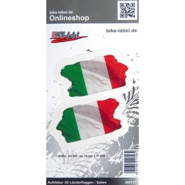 Aufkleber 3D Länder-Flaggen - Italien Italy 2 Stck. je 70 x 37 mm