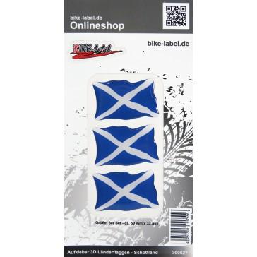 Aufkleber 3D Länder-Flaggen - Schottland 3 Stck. je 50 x 33 mm