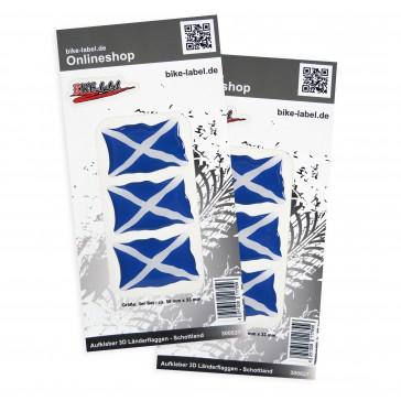 Aufkleber 3D Länder-Flaggen - Schottland 50 x 33 mm (2er Set)