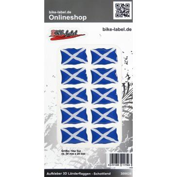 Aufkleber 3D Länder-Flaggen - Schottland 10 Stck. je 30 x 20 mm