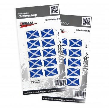 Aufkleber 3D Länder-Flaggen - Schottland 30 x 20 mm (2er Set)