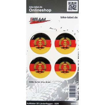 Aufkleber 3D Länder-Flaggen - DDR 4 Stck. Durchmesser ca. 40 mm