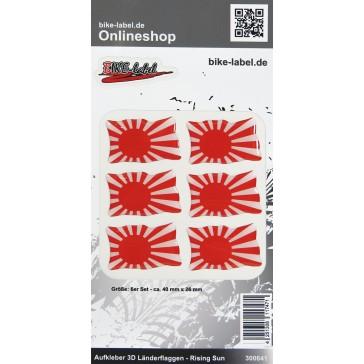 Aufkleber 3D Länder-Flaggen - Rising Sun 6 Stck. je 40 x 26 mm