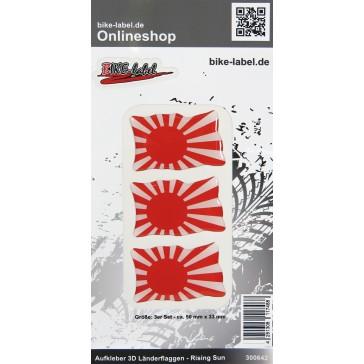 Aufkleber 3D Länder-Flaggen - Rising Sun 3 Stck. je 50 x 33 mm