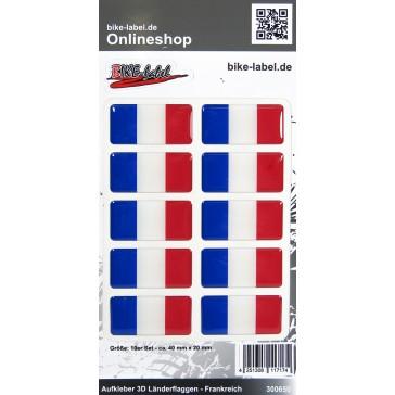 Aufkleber 3D Länder-Flaggen - Frankreich France 10 Stck. je 40 x 20 mm
