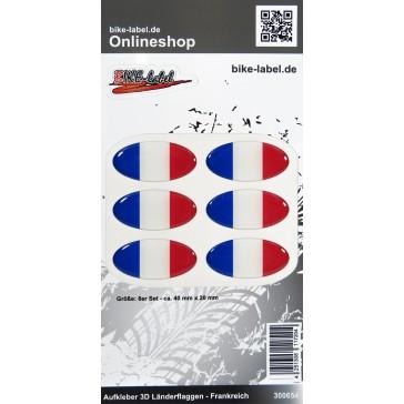 Aufkleber 3D Länder-Flaggen - Frankreich France 6 Stck. je 40 x 20 mm