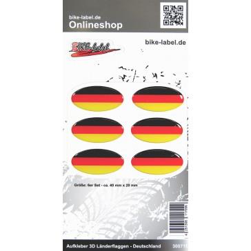 Aufkleber 3D Länder-Flaggen - Deutschland 6 Stck. je 40 x 20 mm