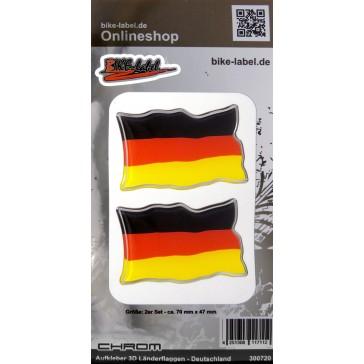 Aufkleber 3D Länder-Flaggen - Deutschland mit Chromrand 2 Stck. je 70 x 47 mm