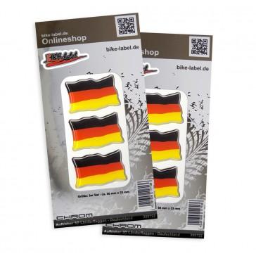Aufkleber 3D Länder-Flaggen - Deutschland mit Chromrand 50 x 33 mm (2er Set)