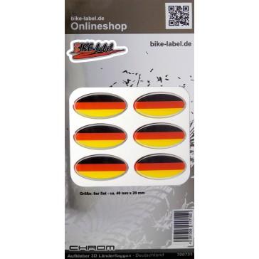 Aufkleber 3D Länder-Flaggen - Deutschland mit Chromrand 6 Stck. je 40 x 20 mm