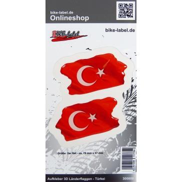 Aufkleber 3D Länder-Flaggen - Türkei Turkey 2 Stck. je 70 x 37 mm