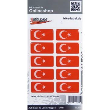 Aufkleber 3D Länder-Flaggen - Türkei Turkey 10 Stck. je 40 x 20 mm