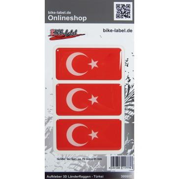Aufkleber 3D Länder-Flaggen - Türkei Turkey 3 Stck. je 70 x 35 mm