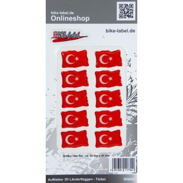 Aufkleber 3D Länder-Flaggen - Türkei Turkey 10 Stck. je 30 x 20 mm