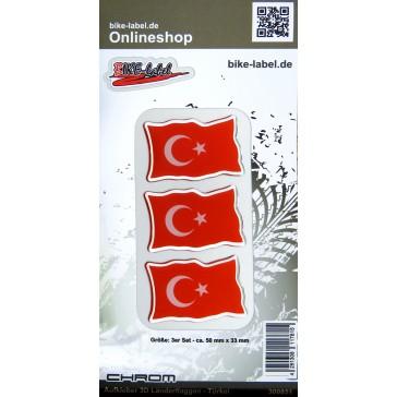 Aufkleber 3D Länder-Flaggen - Türkei Turkey mit Chromrand 3 Stck. je 50 x 33 mm