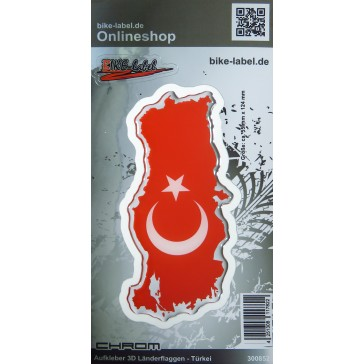 Aufkleber 3D Länder-Flaggen - Türkei Turkey mit Chromrand 55 x 124 mm