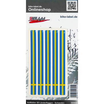 Aufkleber 3D Länder-Flaggen - Schweden Sweden 5 Stck. je 120 x 10 mm
