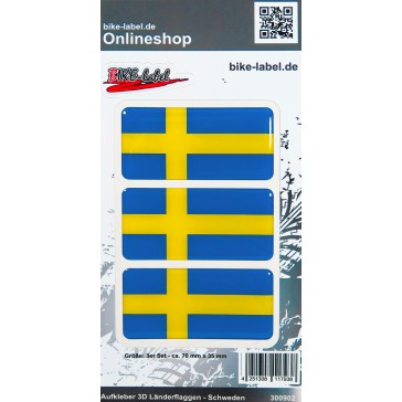 Aufkleber 3D Länder-Flaggen - Schweden Sweden 3 Stck. je 70 x 35 mm