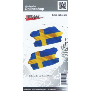 Aufkleber 3D Länder-Flaggen - Schweden Sweden 2 Stck. je 70 x 37 mm