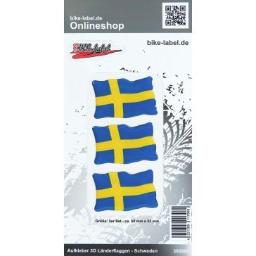 Aufkleber 3D Länder-Flaggen - Schweden Sweden 50 x 33 mm
