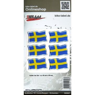 Aufkleber 3D Länder-Flaggen - Schweden mit Chromrand 40 x 26 mm