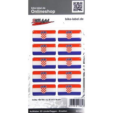 Aufkleber 3D Länder-Flaggen - Kroatien Croatia 10 Stck. je 40 x 20 mm