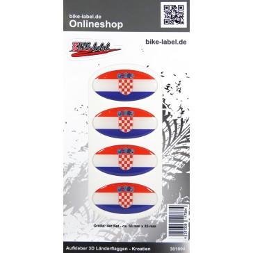 Aufkleber 3D Länder-Flaggen - Kroatien Croatia 4 Stck. je 50 x 25 mm
