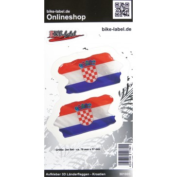 Aufkleber 3D Länder-Flaggen - Kroatien Croatia 2 Stck. je 70 x 37 mm