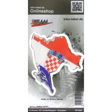 Aufkleber 3D Länder-Flaggen - Kroatien mit Chromrand 85 x 104 mm