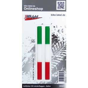 Aufkleber 3D Länder-Flaggen - Italien Italy 2 Stck. je 120 x 10 mm