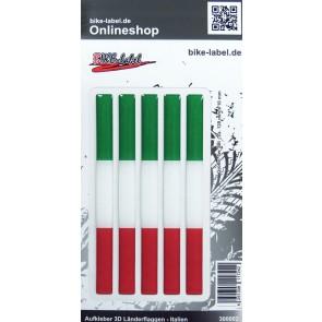 Aufkleber 3D Länder-Flaggen - Italien Italy 5 Stck. je 120 x 10 mm