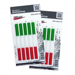 Aufkleber 3D Länder-Flaggen - Italien 120 x 10 mm (2er Set)