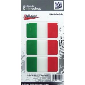 Aufkleber 3D Länder-Flaggen - Italien Italy 3 Stck. je 70 x 35 mm