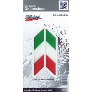 Aufkleber 3D Länder-Flaggen - Italien Italy 2 Stck. je 100 x 20 mm