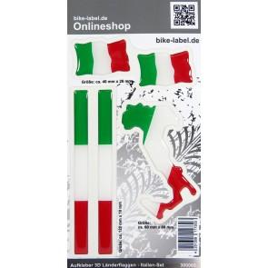 Aufkleber 3D Länder-Flaggen - Italien Italy 5er Set mit 3 Formen