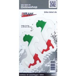 Aufkleber 3D Länder-Flaggen - Italien Italy 2 Stck. je 80 x 68 mm