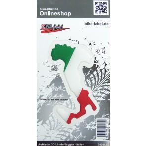 Aufkleber 3D Länder-Flaggen - Italien Italy Stiefel 100 x 85 mm