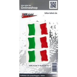 Aufkleber 3D Länder-Flaggen - Italien Italy 3 Stck. je 50 x 33 mm