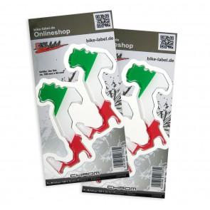 Aufkleber 3D Länder-Flaggen - Italien 100 x 85 mm (2er Set)