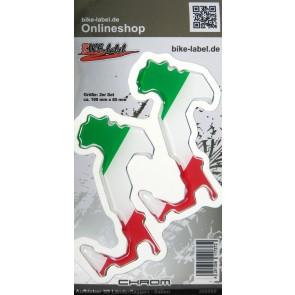 Aufkleber 3D Länder-Flaggen - Italien Stiefel mit Chromrand 2 Stck. je 100 x 85 mm