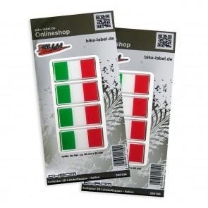 Aufkleber 3D Länder-Flaggen - Italien mit Chromrand 50 x 25 mm (2er Set)