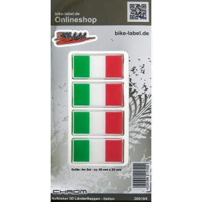 Aufkleber 3D Länder-Flaggen - Italien Italy mit Chromrand 4 Stck. je 50 x 25 mm