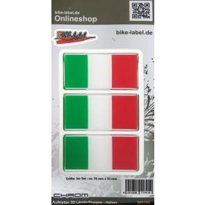 Aufkleber 3D Länder-Flaggen - Italien Italy mit Chromrand 3 Stck. je 70 x 35 mm