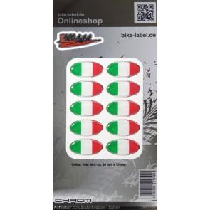 Aufkleber 3D Länder-Flaggen - Italien Italy mit Chromrand 10 Stck. je 30 x 15 mm