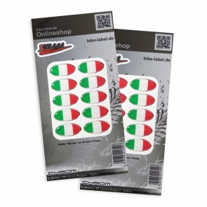 Aufkleber 3D Länder-Flaggen - Italien mit Chromrand 30 x 15 mm (2er Set)